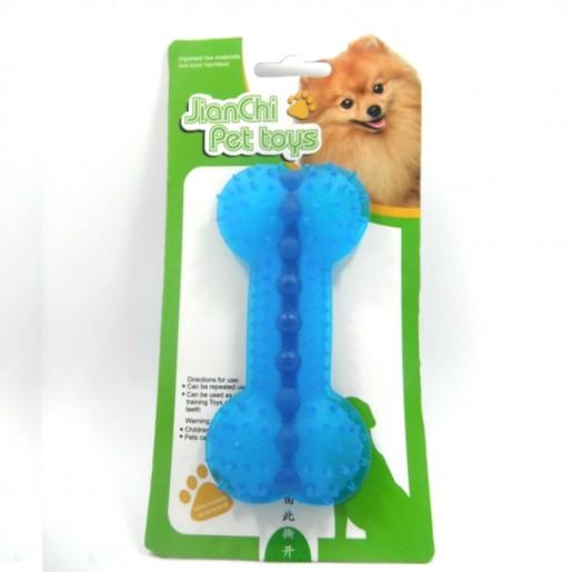 Brinquedo Porta Petisco Osso Azul Para Cães