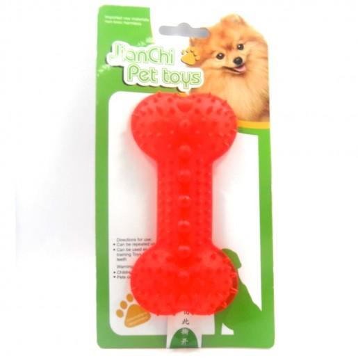 Brinquedo Porta Petisco Osso Vermelho Para Cães