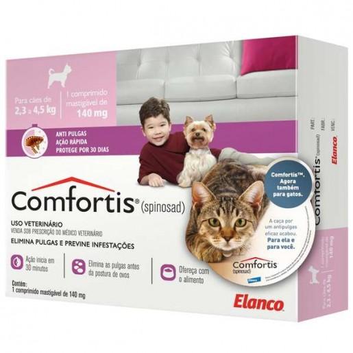 Comfortis Antipulgas 140mg Cachorros de 2,3 a 4,5kg Gatos de 1,4 a 2,8kg