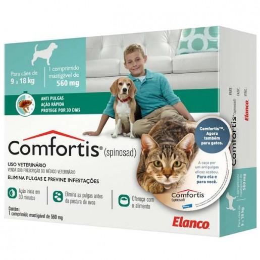 Comfortis Antipulgas Cães de 9 a 18 Kg e Gatos de 5,5 a 11 Kg 560mg