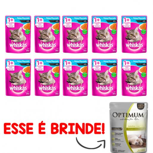 Kit 10 Alimento Úmido Whiskas Sachê Jelly Peixe Gatos Adultos + Brinde