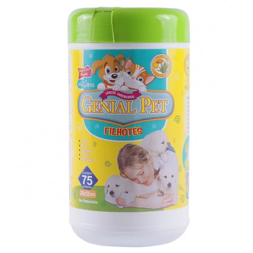 Lenços Umedecidos para Filhotes Genial Pet - 75 unidades
