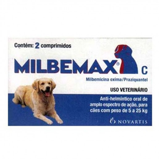 Milbemax Para Cães de 5 a 25kg 2 Comprimidos