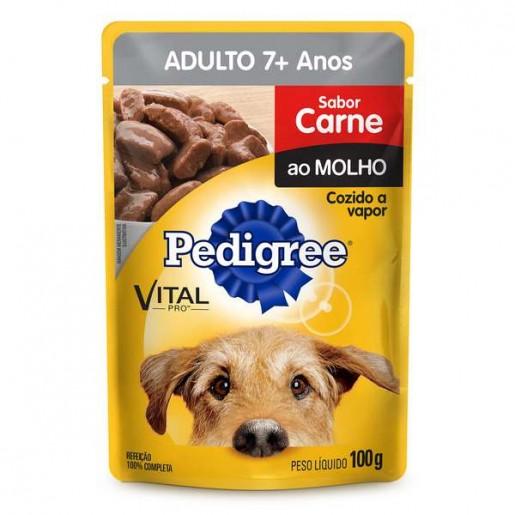 Pedigree Sachê Cães Adultos 7+ Anos Sabor Carne ao Molho 100g