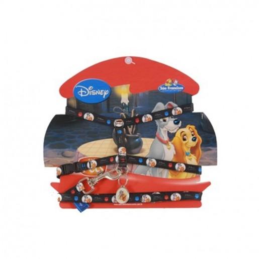 Peitoral Coleira Com Guia Preta Disney