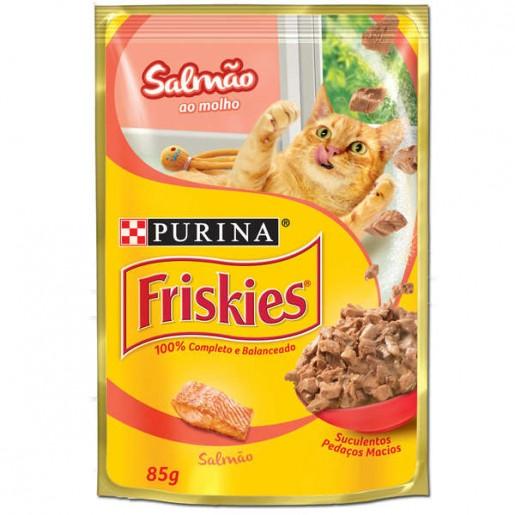 Alimento Úmido Para Gatos em Sachê Friskies Salmão ao Molho 85g