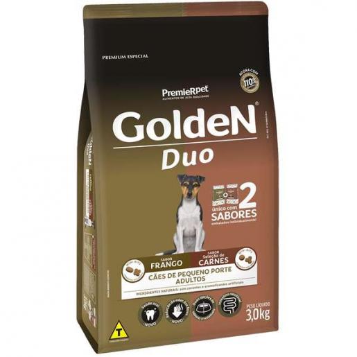 Ração Golden Duo Cachorros Adultos Frango e Carne Mini Bits 3kg