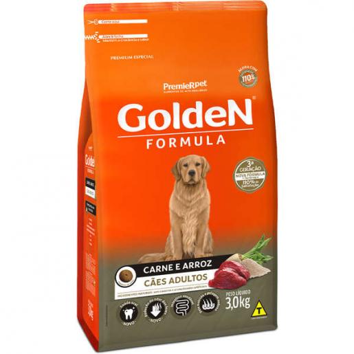 Ração Golden Fórmula Cachorros Adultos Carne e Arroz 3kg