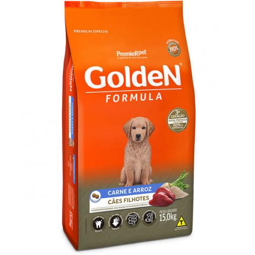 Ração Golden Fórmula Cachorros Filhotes Carne e Arroz 15kg