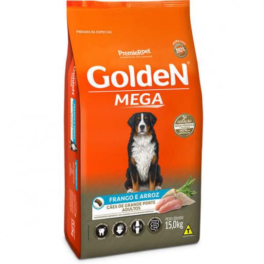 Ração Golden Mega Cachorros Adultos Frango e Arroz 15kg