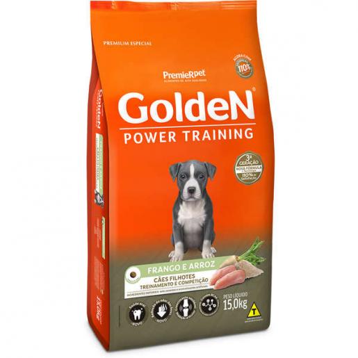Ração Golden Power Training Cachorros Filhotes Frango e Arroz 15kg
