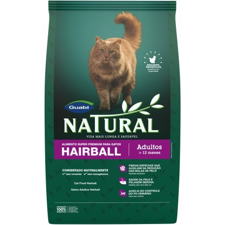 Ração Guabi Natural Gatos Adultos Hairball 1,5kg