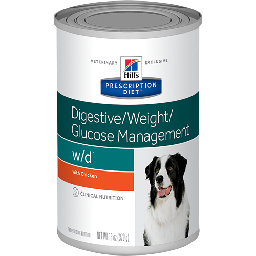 Ração Hills Prescription w/d Low Fat Diabetic Gastrointestinal Health Canine Lata 370g