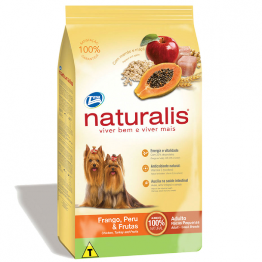 Ração Naturalis Cães Adultos Raças Pequenas Frango, Peru e Frutas 15kg