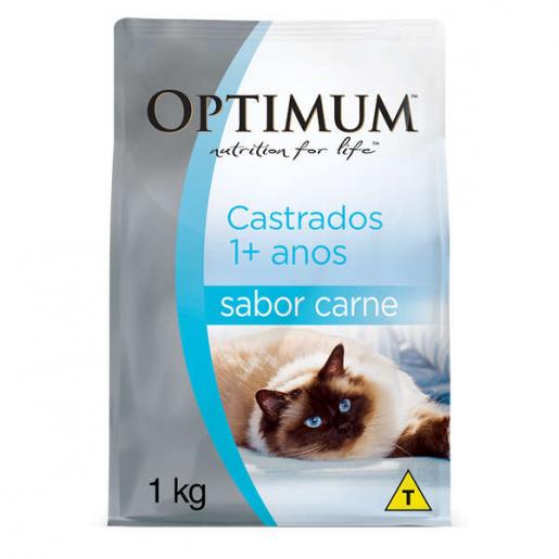 Ração Optimum Gatos Adultos Castrados Carne 1kg
