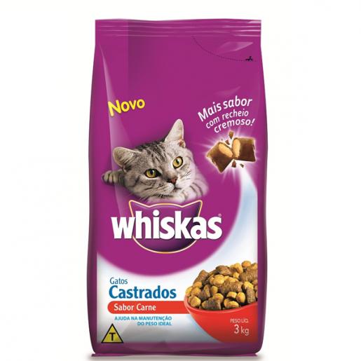 Ração Para Gatos Castrados Whiskas Sabor Carne 3Kg