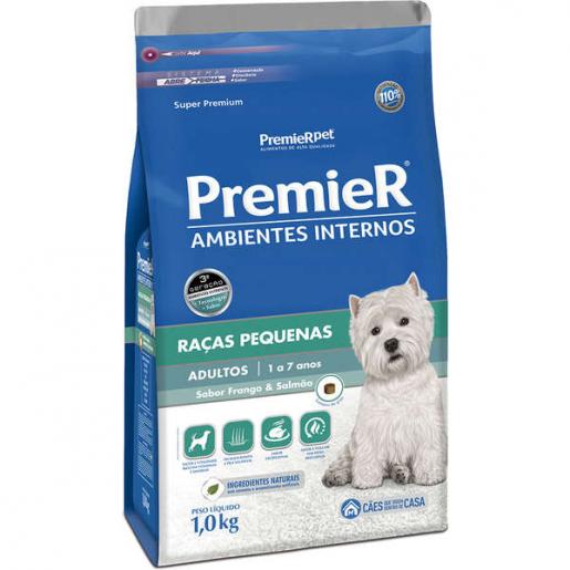 Ração Premier Ambientes Internos Cachorros Adultos Frango e Salmão 1kg