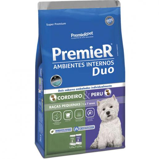 Ração Premier Ambientes Internos Cachorros Duo Cordeiro e Peru 12kg