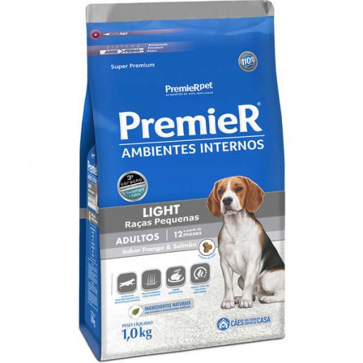 Ração Premier Ambientes Internos Cachorros Raças Pequenas Light 1kg