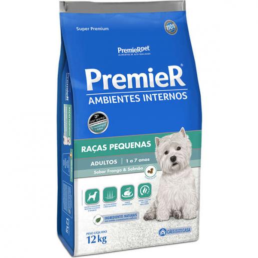 Ração Premier Cachorros Adultos Raças Pequenas Frango e Salmão 12kg