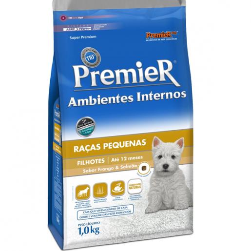 Ração Premier Cães Filhotes Ambientes Internos Frango e Salmão 1kg
