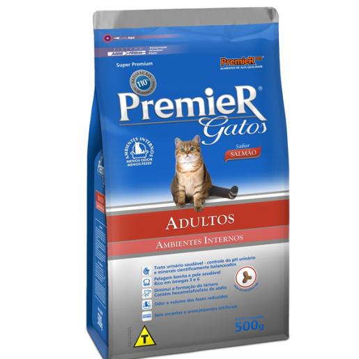 Ração Premier Gatos Adultos Ambientes Internos Salmão 500g