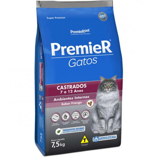 Ração Premier Gatos Castrados Ambientes Internos 7 a 12 anos 7,5kg