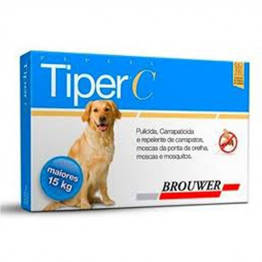 Tiper C Repelente Anti-Pulgas Carrapatos e Moscas Para Cães Com Mais de 15Kg
