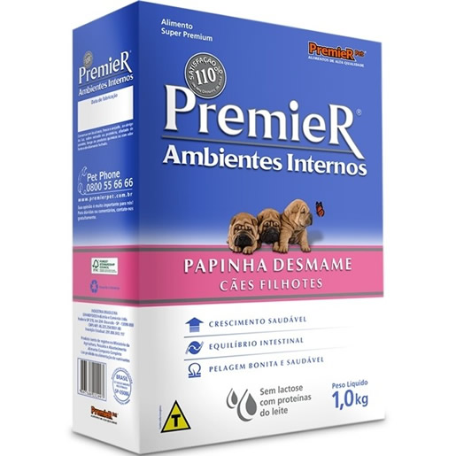 Premier Papinha Desmame Para Cães Filhotes Ambientes Internos 1kg