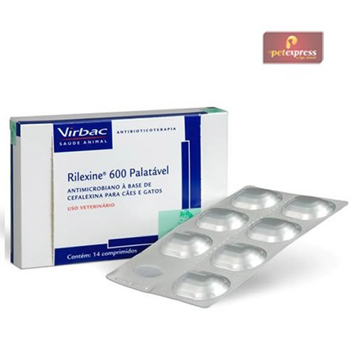 Antibiótico Virbac Rilexine 600 mg Cães e Gatos 14 Comprimidos