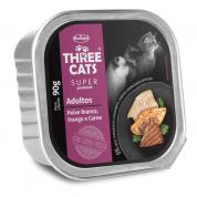 Alimento Úmido Patê Three Cats Super Premium Gatos Adultos Peixe Branco, Frango e Carne 90g