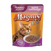 Alimento Úmido Sachê Magnus Cat Gatos Adultos Castrados Frango ao Molho 85g