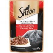 Alimento Úmido Sachê Sheba Carne Ao Molho Gatos Adultos 85g