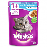 Alimento Úmido Whiskas Sachê Gatos Castrados Peixe ao Molho 85g