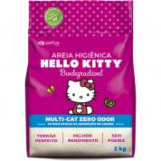 Areia Sanitária da Hello Kitty Rosa Biodegradável Fina 2kg