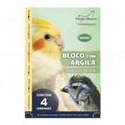 Bloco com Argila Pássaros Médios Pombo Branco 4 unidades