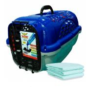 Caixa de Transporte Panther Air nº 4 Azul + Brinde 3 Tapetes Higiênicos