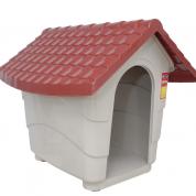 Casa de Cachorro Cinza com Teto Vermelho