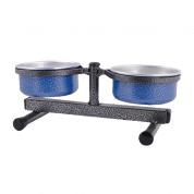 Comedouro e Bebedouro Ajustável Alumínio Médio Azul