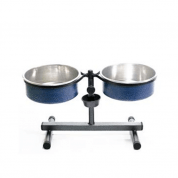 Comedouro e Bebedouro Ajustável Alumínio Mini Azul