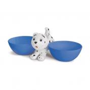 Comedouro e Bebedouro Duplo Cachorrito Cachorros Azul 450ml