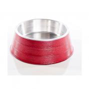 Comedouro Pesado Alumínio Vermelho Médio 1,2 litros