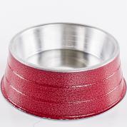 Comedouro Pesado Alumínio Vermelho Pequeno 600ml