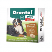 Drontal Plus Sabor Carne Cães Até de 35kg 2 Comprimidos