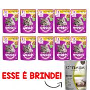 Kit 10 Alimento Úmido Whiskas Sachê Frango ao Molho Gatos Adultos + Brinde