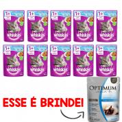 Kit 10 Alimento Úmido Whiskas Sachê Gatos Castrados Peixe ao Molho + Brinde