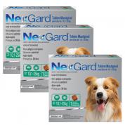 Kit 3 NexGard Antipulgas e Carrapatos Cães 10,1 a 25kg