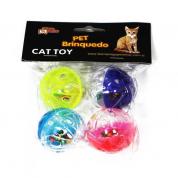 Kit Brinquedo para Gatos Bolinhas com Guizo Bom Amigo