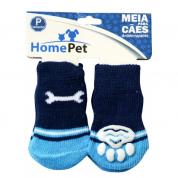 Meia Antiderrapante Cachorros Osso Azul P HomePet