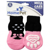 Meia Antiderrapante Cachorros Sapato Rosa G HomePet